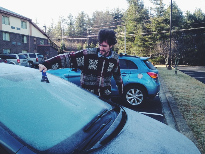Dane w/ ice on car